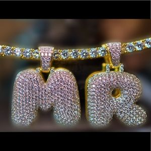 Other - Customize micropave diamonds bubble letter, chain